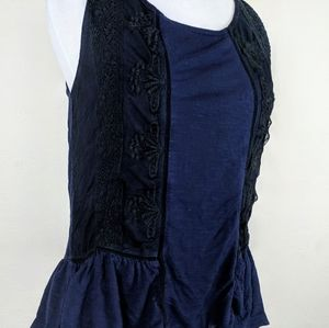 American Eagle Outfitters Navy Blue Black Lace Top